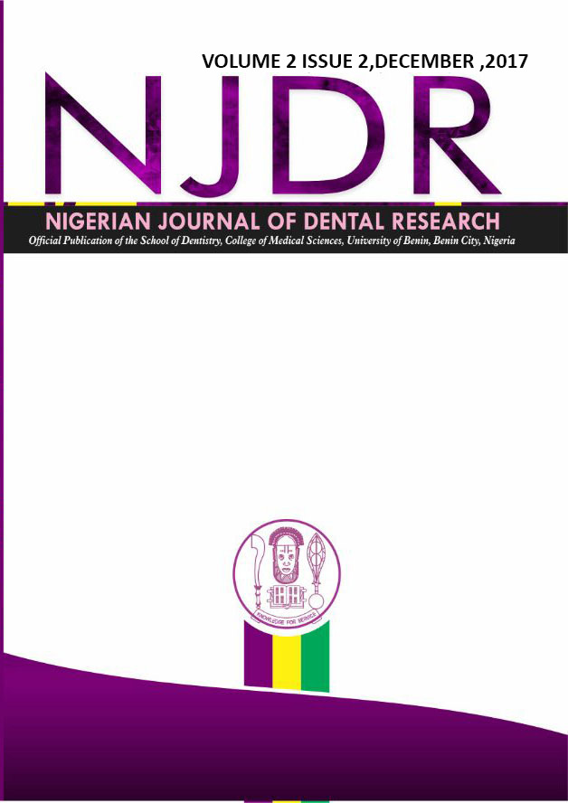 Nigerian Journal of Dental Research, Volume 2, Issue 2, December, 2017.